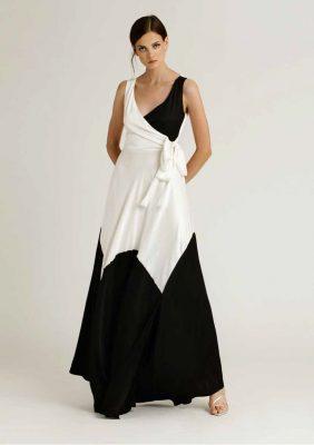 abito lungo bicolor con fiocco laterale