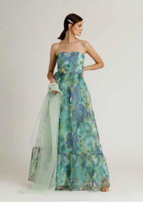 abito lungo tessuto fantasia con balza arricciata