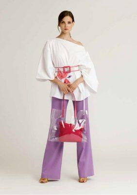 blusa co manica ampia tre quarti dipinta a mano con pantalone palazzo