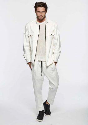 giacca camicia bianca con zip