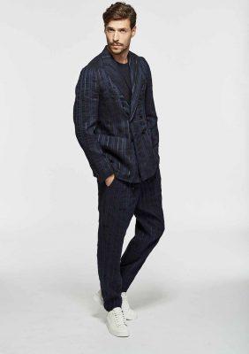 giacca doppiopetto sfoderata con tasca a toppa