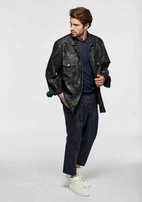 giacca camicia con zip e tasche
