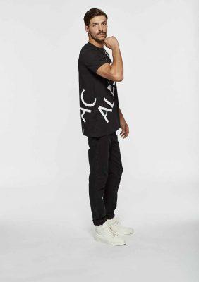 t-shirt a manica corta con stampa logo obliqua avanti e dietro